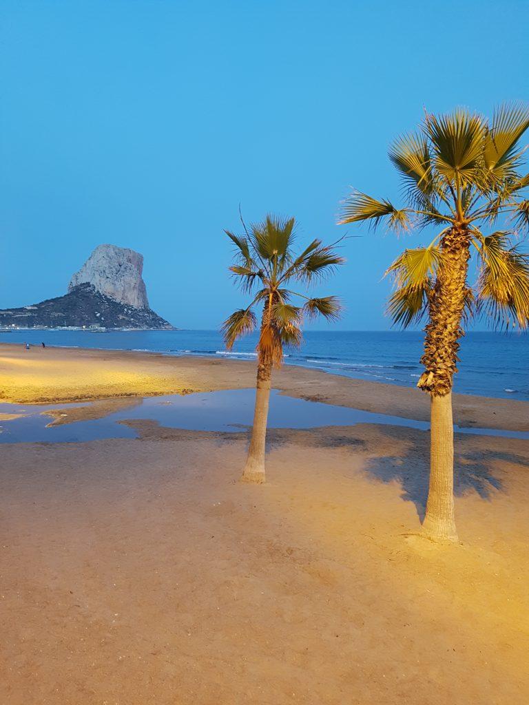 Avond in Calpe, palmbomen op strand